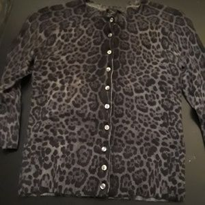 Only Mine Leopard Merino Wool Cardigan S/P